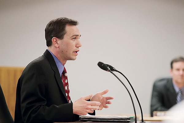 Record-Eagle/Keith King<br /> Scott Howard, attorney for the Grand Traverse County Board of Public Works, speaks to board members.