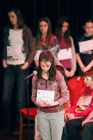 Record-Eagle/Jan-Michael Stump<br /> Madeline Youngson spells a word in her hand during the 2011 Grand Traverse Regional Spelling Bee Sunday.