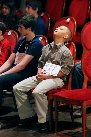 Record-Eagle/Jan-Michael Stump<br /> Jack Pasche waits for his turn during the 2011 Grand Traverse Regional Spelling Bee.