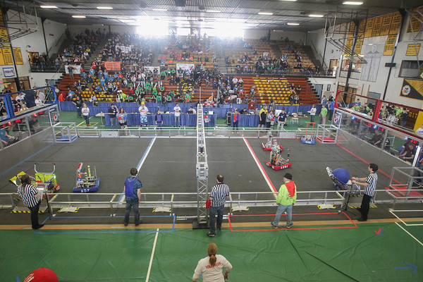 Record-Eagle/Keith King<br /> Teams compete during the Traverse City FIRST (For Inspiration and Recognition of Science and Technology) Robotics District Competition at Traverse City Central High School.