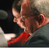 Record-Eagle/Keith King<br /> Thirteenth Circuit Court Judge Philip E. Rodgers, also serving as a judge for the event, listens as a participant spells a word Sunday during the 2014 Grand Traverse Regional Spelling Bee at the State Theatre in Traverse City.