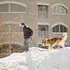 """Record-Eagle/Keith King<br /> Joshua Brewington, of Traverse City, and his dog, Phalkor, walk on a pile of snow Tuesday in Traverse City's Warehouse District. """"Enjoying the beautiful day,"""" Brewington said about the walk."""