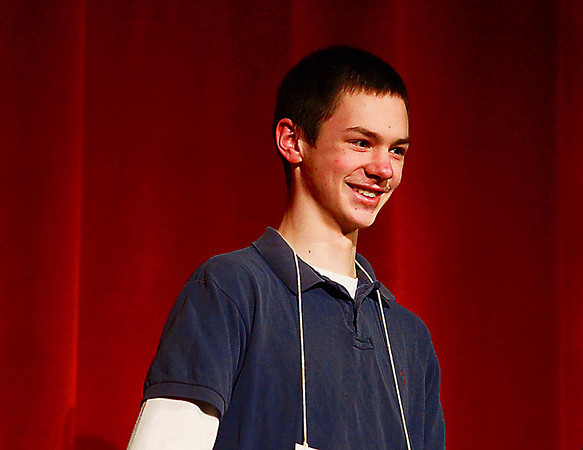 Record-Eagle/Keith King<br /> Charlie Donahue smiles Sundaafter winning the 2013 Grand Traverse Regional Spelling Bee at the State Theatre in Traverse City.