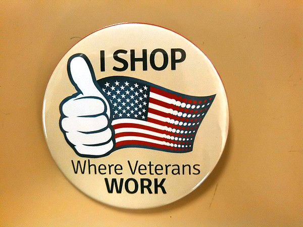 Record-Eagle/Marta Hepler Drahos<br /> Shop where veterans work button