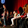 Record-Eagle/Keith King<br /> Jake Lathrop spells a word Sunday during the 2013 Grand Traverse Regional Spelling Bee at the State Theatre in Traverse City.