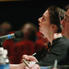 Record-Eagle/Keith King<br /> Kate Botello, with Classic Interlochen Public Radio, pronounces a word Sunday, March 17, 2013 during the 2013 Grand Traverse Regional Spelling Bee at the State Theatre in Traverse City.