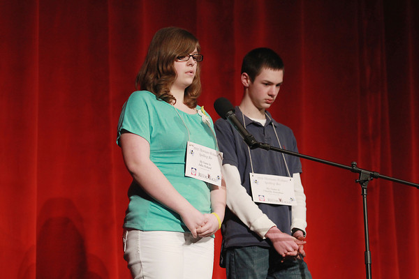 Record-Eagle/Keith King<br /> Julia Pickard, left, spells a word as Charlie Donahue awaits his turn to spell a word Sunday, March 17, 2013 during the 2013 Grand Traverse Regional Spelling Bee at the State Theatre in Traverse City.