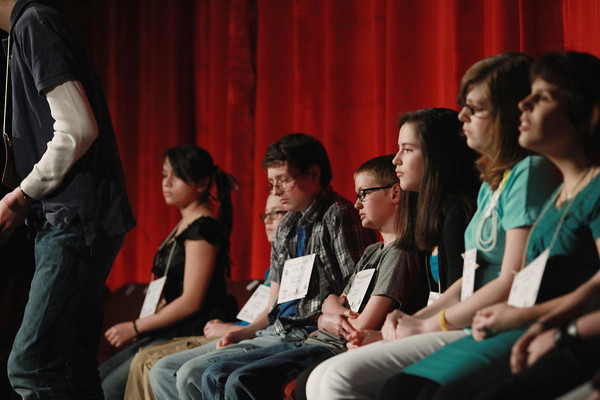 Record-Eagle/Keith King<br /> Participants await their turn Sunday, March 17, 2013 during the 2013 Grand Traverse Regional Spelling Bee at the State Theatre in Traverse City.
