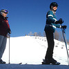 "Record-Eagle/Nathan Payne<br /> Karen Keranen lines up with her students to board a chairlift at Crystal Mountain Resort and Spa during a Wednesday morning ""Retired not Tired"" ski outing."