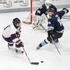 Record-Eagle/Jan-Michael Stump<br /> Alec Shields eludes Port Huron Fighting Falcons' Ryan Teal (15).