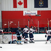 Record-Eagle/Jan-Michael Stump<br /> Traverse City North Stars players celebrate Alexander Taulien's (18) goal in the first period Friday night.