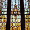 Record-Eagle/Keith King<br /> Light shines through a stained-glass window at Elk Rapids United Methodist Church.