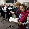 "Record-Eagle/Keith King<br /> Hettie Molvang, of Traverse City, reads her part of the production of ""Looking Over My Shoulder,"" with fellow members of Aged to Perfection Saturday, March 2, 2013 during a rehearsal at the Old Town Playhouse."