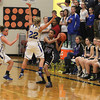 Record-Eagle/Jan-Michael Stump<br /> Gaylord St. Mary's Christina Smith (22) tries to trap Leland's Felicia Whittaker (24) in the second quarter of Tuesday's Class D regional semifinal in Buckley.