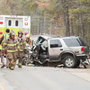 Record-Eagle/Keith King<br /> Emergency personnel work at the scene of a crash on Supply Road in Boardman Township, Kalkaska County.