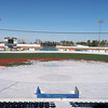 Record-Eagle/Andy Taylor<br /> Snow still covers parts of the baseball field and seating area at Wuerfel Park in Traverse City Wednesday.