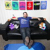 Record-Eagle/Keith King<br /> Beau Warren, owner of Idea Farm and Tee See Tee, sits near his t-shirt designs and some of his plush toy designs at his office in downtown Traverse City.