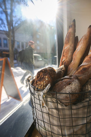 Record-Eagle/Keith King<br /> Bread is displayed in a window at Pleasanton Cafe on Union Street in downtown Traverse City.