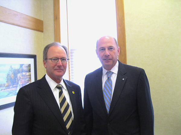 Record-Eagle/Glenn Puit<br /> Daniel Terpsma, left, president of Northwestern Bank, stands with David Ramaker, president of Chemical Financial Corporation. The two financial institutions announced plans to merge Tuesday.