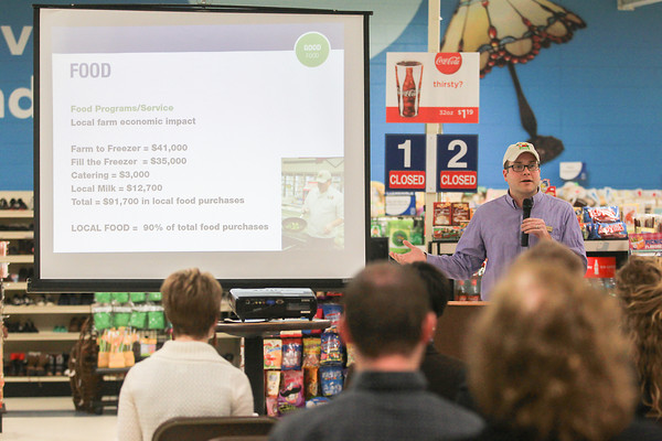Record-Eagle/Keith King<br /> Brandon Seng, director of food programs for Goodwill Industries of Northern Michgian, speaks in Traverse City during a press conference Thursday at Goodwill Industries of Northern Michigan.
