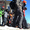 Record-Eagle/Nathan Payne<br /> Members of the Grand Valley State University chapter of the Alpha Tau Omega fraternity walk through Traverse City during their trek to raise money for MS research.
