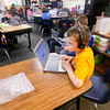 Record-Eagle/Keith King<br /> Zach Wheeler, a second-grade student, in a class with second and third-grade students, works using a Chromebook at Westwoods Elementary School in Long Lake Township.