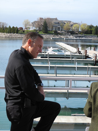 Record-Eagle/Denny Chase<br /> MSU football coach Mark Dantonio looks on Friday at Bay Harbor.