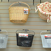 Record-Eagle/Vanessa McCray<br /> City Bike Shop in Traverse City stocks an assortment of baskets and bags for storing items while bicycling.