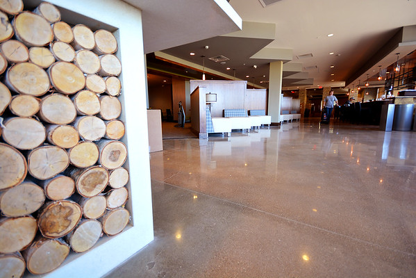 Record-Eagle/Dan Nielsen<br /> The decor at Hotel Indigo features wood as a nod to the area's lumbering days.