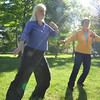 """Record-Eagle/Allison Batdorff<br /> Joan D'Argo, left, and Nance Belton, right, will offer a free qigong class in Lay Park starting this week. Qigong combines gentle, flowing moments with breathing to """"replenish"""" the body's natural energy."""