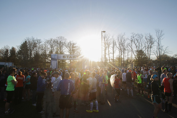 Record-Eagle/Keith King<br /> Runners gather near the starting line at Northwestern Michigan College prior to the start of the 32nd annual Bayshore Marathon.