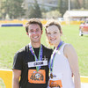 Record-Eagle/Keith King<br /> Stephen Hobson and Kelsey Hawkins after finishing the 32nd annual Bayshore half marathon in Traverse City.