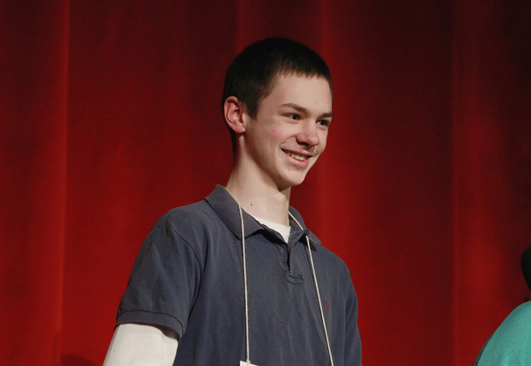 Record-Eagle/Keith King<br /> <br /> Charlie Donahue smiles Sunday, March 17, 2013 after winning the 2013 Grand Traverse Regional Spelling Bee at the State Theatre in Traverse City.