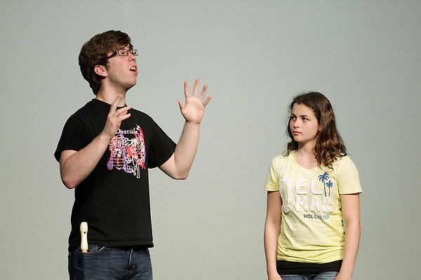 "Record-Eagle/Keith King<br /> John McAllister, left, playing Tumnus, and Celeste Anderson, playing Lucy, rehearse a scene Tuesday, May 31, 2011 of ""The Lion, the Witch and the Wardrobe"" by the Old Town Playhouse Young Company."