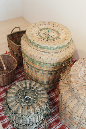 Record-Eagle/Keith King<br /> A collection of women's baskets are part of the Anishnabek arts collection at the Leelanau Historical Museum.