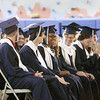 "Record-Eagle/Keith King Grand Traverse Academy students laugh Friday during their commencement at the academy. For more photos from the event, visit <a href=""http://record-eagle.com/graduations"">record-eagle.com/graduations</a>."