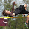 "Record-Eagle/Keith King<br /> Traverse City Central's Aaron Taylor cleared 6""1.25"" Wednesday to win the high jump in the Traverse City Record-Eagle Honor Roll meet."