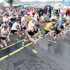 Record-Eagle/Jan-Michael Stump<br /> Runners start the 10k in Saturday's 29th annual Bayshore Marathon in Traverse City.