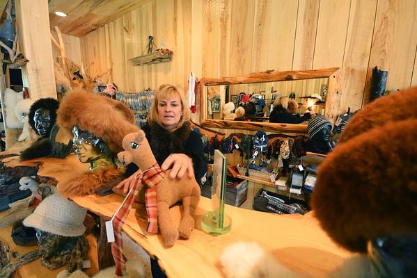 Record-Eagle/Dan Nielsen<br /> Owner Chris Nelson staffs the Crystal Lake Alpaca Farm & Boutique near Benzonia.