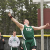 Record-Eagle/Keith King<br /> Traverse City West's Tommy Roush competes in the shot put event during the Ken Bell Invitational Track Meet at Traverse City Central Senior High School.