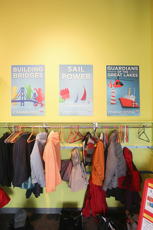Record-Eagle/Keith King<br /> Signs for upcoming exhibitions for 2014 are displayed at the Great Lakes Children's Museum.