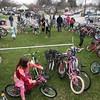 Record-Eagle/Keith King<br /> Students gather at their bicycles at the end of the school day at Traverse City Area Public Schools (TCAPS) Montessori at Glenn Loomis as they participate in national Bike to School Day.