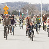 Record-Eagle/Keith King<br /> Participants ride their bicycles at the start of the Tweed Ride TC event in Traverse City.