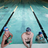 Record-Eagle/Keith King<br /> Maureen Perkins, from left, Sean Cabbage and Paula Colombo, all of Traverse City, talk with Grand Traverse Masters Swimming coach, Kathy Coffin-Sheard (not pictured) Saturday, April 27, 2013 after swimming in the Easling Pool at the Grand Traverse County Civic Center.