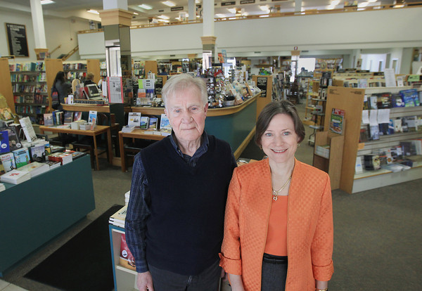 Record-Eagle/Keith King<br /> Vic Herman, president/owner, and Amy Reynolds, sales manager, stand Thursday, April 25, 2013 at Horizon Books in downtown Traverse City.