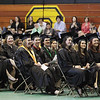 Record-Eagle/Keith King<br /> Students laugh as they listen to 2010 Imogene Wise Faculty Excellence Award recipient Stephen Drake on Saturday during the Northwestern Michigan College commencement ceremony at Traverse City Central High School.