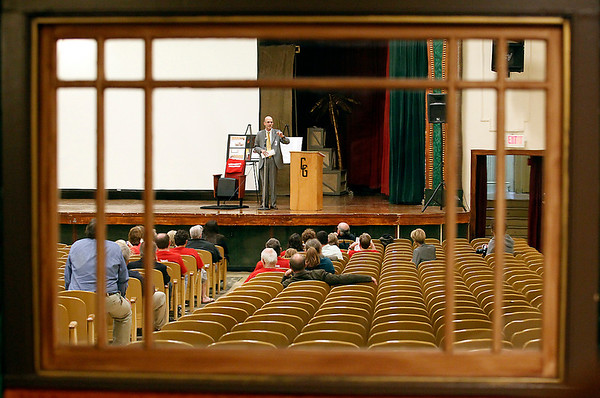 Record-Eagle/Jan-Michael Stump<br /> TCAPS Superintendent Stephen Cousins announces a $100,000 renovation plan for Lars Hockstad Auditorium in Central Grade School on Tuesday, spearheaded by the Traverse City Film Festival. Work will begin immediately after the end of the school year with volunteers removing all 948 seats, followed by removal of asbestos and resurfacing of the floors to prepare for 805 new seats, new carpeting and new paint. The project is scheduled to be completed by July 18, just before the start of the film festival, which uses the facility.