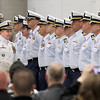 Record-Eagle/Jan-Michael Stump<br /> Cmdr. Joseph Buzzella Jr., left, and Cmdr. Jonathan Spaner inspect the troops as part of U.S. Coast Guard Air Station Traverse City's Change of Command ceremony Friday.