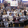 Record-Eagle/Keith King<br /> Signs of support are held high as students enter the Traverse City Central High School gymnasium.