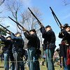 Record-Eagle/Loraine Anderson<br /> Riflemen from Robert Finch Camp No. 14 fire their Springfields at Maple Lawn Cemetery in Boyne City, in a salute to John Jacko and William Isaacs, American Indian Co. K sharpshooters in the Michigan 1st Sharpshooters Regiment during the Civil War.